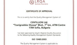 CENTILLION Ltd. is certified according to ISO 13485:2003